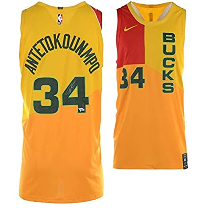 low priced 36dc3 4a37c Amazon.com: GIANNIS ANTETOKOUNMPO Autographed Milwaukee ...
