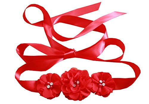 - Bridesmaid and Flowergirls sashes wedding sash pearls flowers belts (Red)