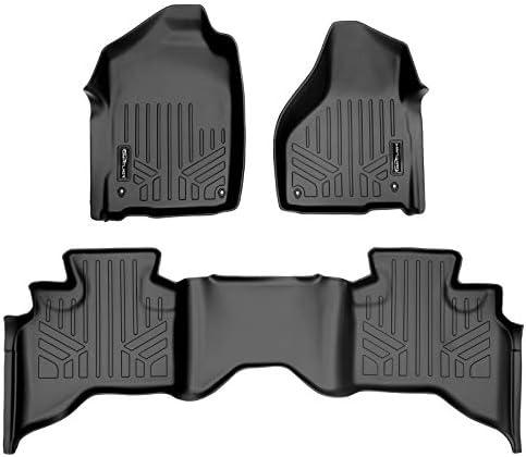 MAXLINER Floor Mats 2 Row Liner Set Black for 2012-2018 RAM 1500 Quad Cab