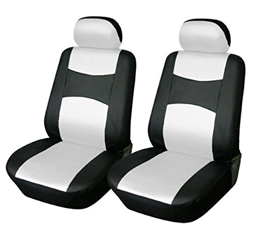 OPT Brand. Vinyl Leather 4PC SET Toyota Corolla Prius Highlander Camry 4Runner Land Cruiser Avalon Yaris RAV4 Prius C V 2 Front Car Auto Seat Covers, Black/White White Color, 77159-BK/W