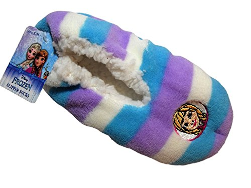 Disney Frozen Slippers (Disney Frozen Anna Purple Blue Stripe Girls Slippers Nonslip Fuzzy (M/L (8 toe to heel)))