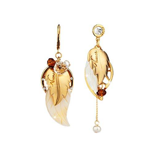 Leaf Drop Fashion Earring (Cuicanstar Women's Leaf Drop Dangle Gold Plated Alloy Crystal Asymmetric Earrings Bohemia Style (Gold))