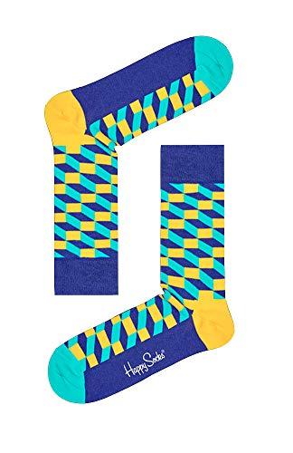 Happy Socks Unisex Filled Optic Crew Socks (One Pair) (Yellow/Aqua/Blue, 10-13) ()