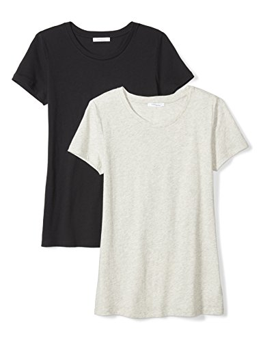 Daily Ritual Women's Tissue Cotton Short-Sleeve Crew Neck T-Shirt, 2-Pack, L, Black/Heather Grey