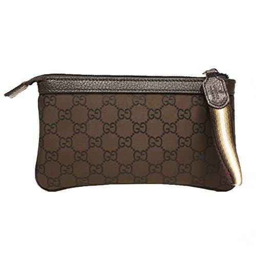 Gucci 339557 Gucci Brown Nylon and Leather Gg Logo Web Cosmetic Case