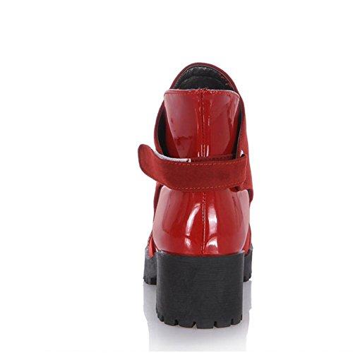 Ei&iLI Printemps des femmes / automne / hiver Bootie similicuir PU occasionnels Chunky talon boucle , red , 34