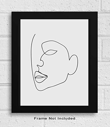 "Abstract Minimalist Single Line Wall Decor - 11x14"" UNFRAMED Print - Modern, Minimal, Black And White Drawing - Female Face Silhouette Wall Art from KL Design Co."