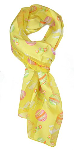 Plum Feathers Festive Holiday Christmas Easter Satin Scarf (Yellow Easter (Easter Egg Scarf)