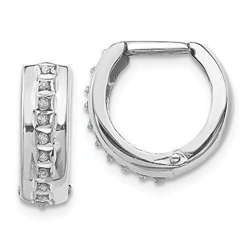 14k White Gold Diamond Fascination Round Huggy Hoop Earrings Ear Hoops Set Fine Jewelry Gifts For Women For - Roberto Ruby Coin