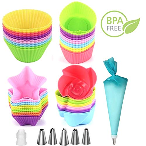 Silicone Cupcake Liners Reusable Baking Cups With Icing Piping Tips & Pastry Bag | Nonstick & Easy Clean Pastry Muffin Molds | 4 Shapes, Round, Heart, Flowers, Stars, 24 Pieces