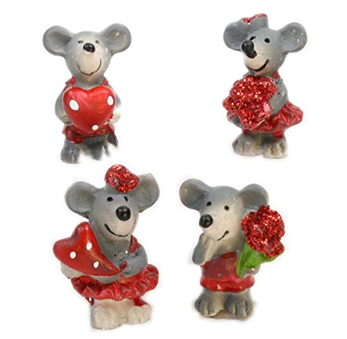 Meyer Imports Mice - Glittery Valentine Mouse Dollhouse Miniatures - Set of 4 Pieces - -