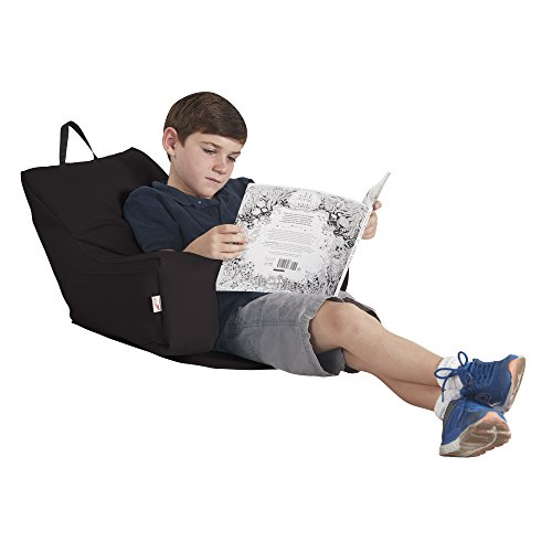 (ECR4Kids Relax-N-Read Bean Bag Back Pillow Chair with Storage Pockets, Black)