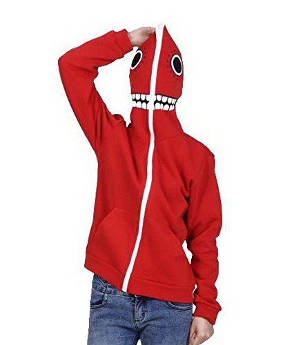 Xcoser V+ Matryoshka Masked Hoodie Zip Up Sweatshirt Costume Red L