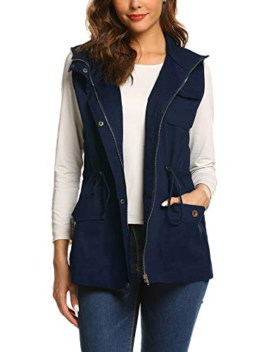 (Beyove Womens Lightweight Sleeveless Zip Up Denim Military Anorak Utility Vest With Pockets)