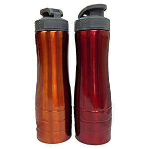 Sportline 25oz Stainless Steel Water Bottle, Orange and Red (Pack of 2)