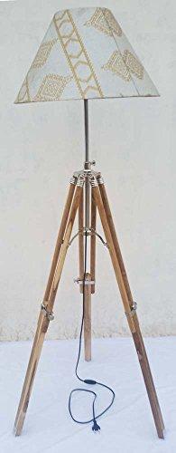 - Shiv Shakti Enterprises Modern Nautical Tripod Floor Lamp Stand Wooden Studio Lamp Without Lamp Shade