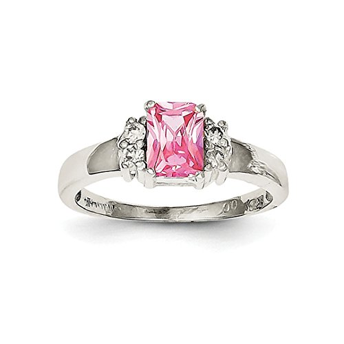 ICE CARATS 925 Sterling Silver Pink White Cubic Zirconia Cz Band Ring Size 6.00 Fine Jewelry Ideal Mothers Day Gifts For Mom Women Gift Set From Heart (Pink Ice Style Ring)