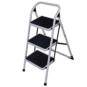 Goplus 3 Step Ladder Folding Heavy Duty Step Stool Anti-slip Platform Sturdy HD Construction, 330lbs Capacity