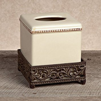 GG Collection Ceramic Cream Tissue Box Cover