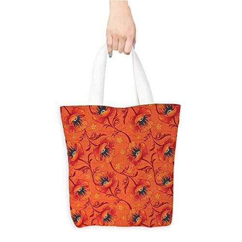 - Eco-Friendly Purse Bag,Orange,Poppy Flower Series Blossoms Romance Boho Chic Artistic Decor Print,Organic Cotton Washable & Eco-friendly Bags,Burnt Orange Yellow Black