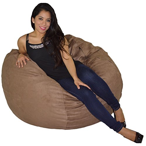 Cozy Sack Bean Bag Chair: Large 4 Foot Foam Filled Bean Bag - Large Bean Bag Chair, Protective Liner, Plush Micro Fiber Removable Cover - Earth