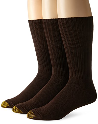 Gold Toe Men's Cotton Fluffies Casual Sock, 3-Pack, Brown, Size 10-13/Shoe Size 6-12.6