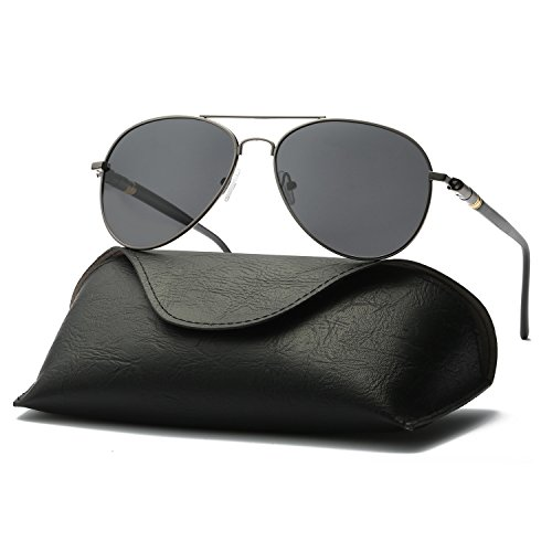 Ray Parker Men Classic Aviator Polarized Sunglasses UV 400 Protection RP209 with Gun Frame/Grey - Parker Sunglasses