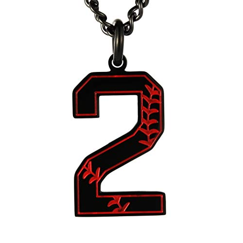 HZMAN Baseball Initial Pendant Necklace Inspiration Baseball Jersey Number 0-9 Charms Stainless Steel Necklace (2 - Black)