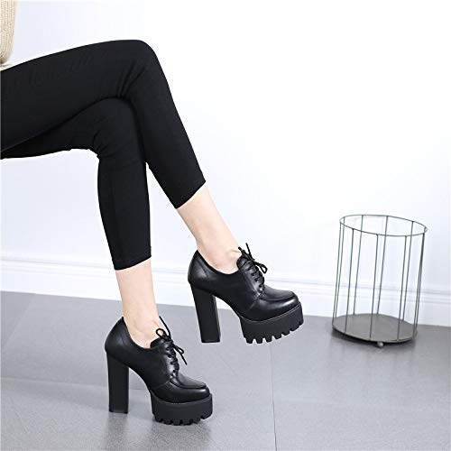 shoes LBTSQ and high waterproof leather heels shoes women's heel shoes Thirty six fashionable high rough 11cm table shoes super Pointed laced straight rC0tSqwr