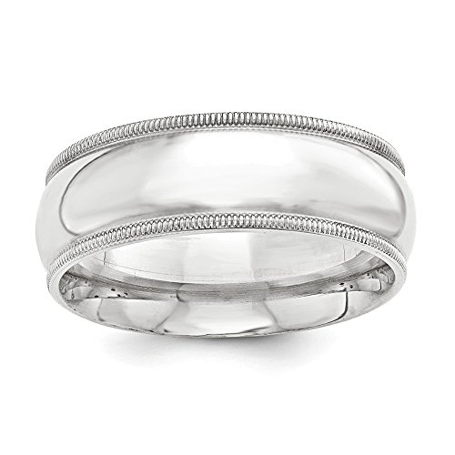 (Sterling Silver 10mm Milgrain Comfort Fit Band - Size 9)