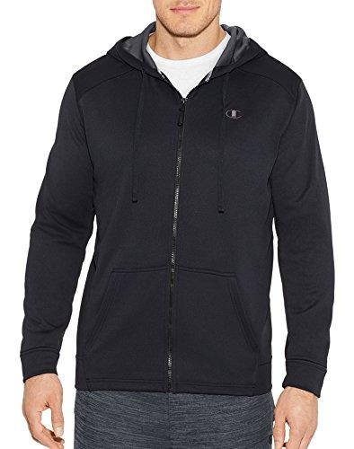 Champion Men's Performance Fleece Full Zip Hoodie, Black/Stealth, Medium