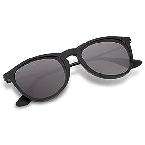 Polarized Wayfarer Sunglasses,Round Shades for Women by Wenlenie Matte Black Frame/ Grey Lens W4171