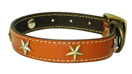 "Heirloom Old Glory Leather Collar - Tan (18"")"