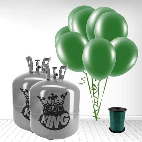 Disposable Helium Gas Cylinder with 100 Forest Green Balloons and Curling Ribbon