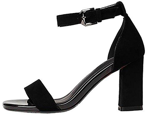 Calaier Mujer Capig Bloquear 6CM Sintético Hebilla Sandalias de vestir Zapatos Negro