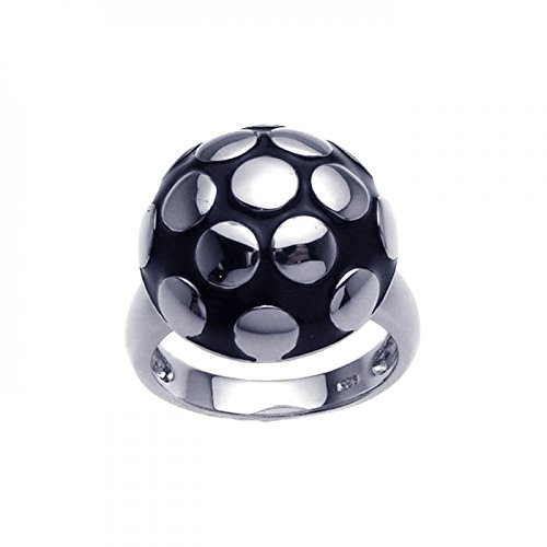 Sterling Silver Rhodium Plated Black Enamel Mushroom Ring Size 9