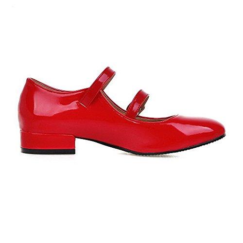 VogueZone009 Damen Niedriger Absatz Lackleder Rein Schnalle Quadratisch Zehe Pumps Schuhe Rot