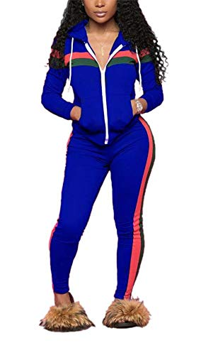 LKOUS Women Long Sleeve Striped Print 2 Pieces Outfits Sweatshirt Skinny Pants Jumpsuit Sport Sweatsuit Fall