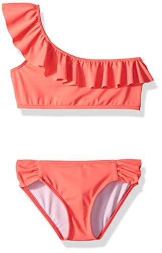 (Billabong Big Girls' Sol Searcher One Shoulder Two Piece Swimsuit Set, neon Coral,)