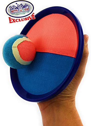 Matty's Toy Stop Deluxe Toss & Catch (Hook & Loop) Tropical Colors Paddle Game Set with 4 Paddles, 3 Balls & Storage Bag by Matty's Toy Stop (Image #2)