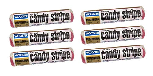 (Wooster Brush R209 9 inch Candy Stripe Roller Cover 1/4 inch Nap, Pack of 6 )