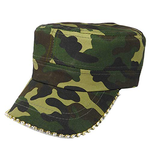(SILVERFEVER Women's Military Cadet Army Cap Hat with Bling -Rhinestone Crystals on Brim)