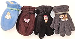 Four Pairs Fleece Winter Very Warm Gloves Mittens for Infants Ages 3-24 Months
