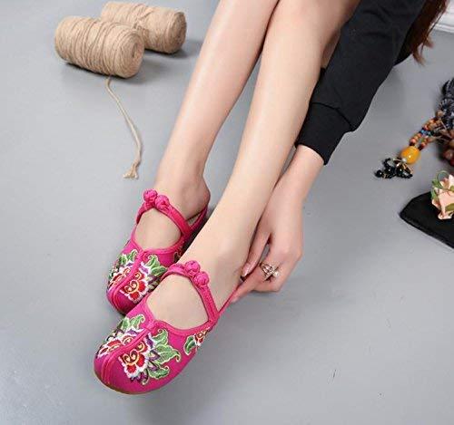 Bestickte Bestickte Bestickte Schuhe Sehnensohle ethnischer Stil weiblicher Flip Flop Mode Bequeme lässige Sandalen Rosa rot 35 (Farbe   - Größe   -) 691769