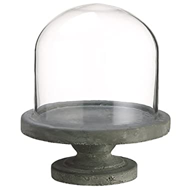 9.4 Hx10.2 W Glass Dome w/Cement Base -Clear/Stone (pack of 2)
