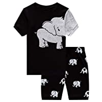 Family Feeling Big Boys Elephant Pajamas Short Sets 100% Cotton Kid Summer Pjs 8