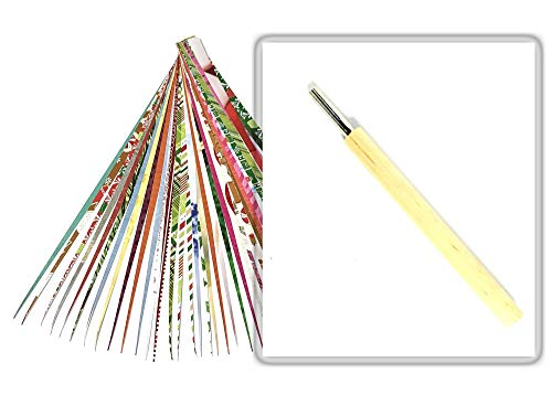 Paper Bead Roller Tool 4MM Slotted Tip with Pack of Paper Strips and Digital Instructions from Ground Zero Creations