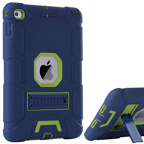 iPad Mini 4 Case,iPad Mini 4 Retina Case,iPad Mini 5 Case,BENTOBEN 3 in 1 Hybrid [Soft&Hard] Heavy Duty Rugged Shockproof Anti-Scratch Protective Kickstand Cases for iPad Mini 4/5,Navy Blue/Green (Hard Cover Ipod 4 Cases)