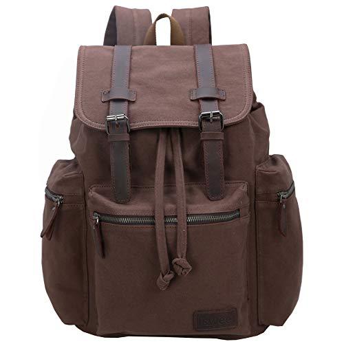 Iswee Unisex Canvas Leather Backpack School Daypack Travel Rucksack 15.6 Laptop Backpack Weekender Bag Brown