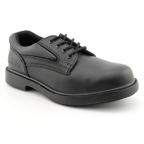 Genuine Grip Footwear Men's Slip-Resistant Steel Toe Oxford,Black Leather,US 11.5 W Genuine Leather Slip